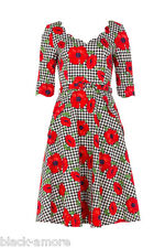 Suzanne Flare Skater Dress Poppy Print Rockabilly Vintage Retro 50s