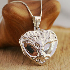 925 Sterling Silver Locket Necklace Embossed Tree Of Life Pattern With Gift Box