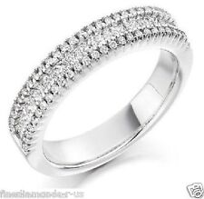 0.75ct Round & Princess Cut Diamonds Half Eternity Wedding Ring in 950 Platinum