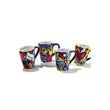 Romero Britto 4 Assorted Coffee Mugs CAT, BUTTERFLY, DEEPLY IN LOVE, A NEW DAY