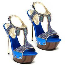 Lady Couture Blue Open toe Rhinestones Slingback Sandal High Heel Women's shoes
