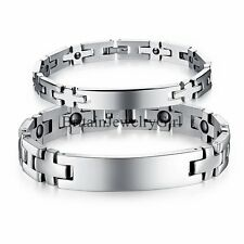 Punk Men Wome nStainless Steel Power Magnetic Therapy Bracelet ID Link Chain