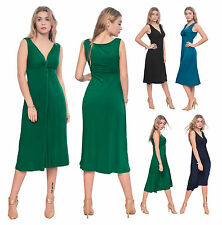 WOMENS SLEEVELESS VNECK DRAPED MIDI EVENING DRESS PARTY COCKTAIL SUMMER DRESS