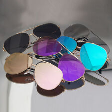 Aviator Sunglasses Driving Designer Pilot Unisex Retro Metal Flash Flat Lens New