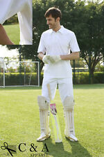 Adults White Cricket Short Sleeve Top Polo Shirt Cricket Pants Sports Wear Suit