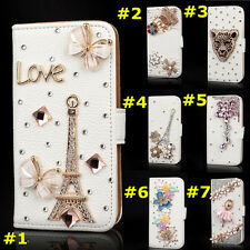 Bling Crystal Diamonds PU Leather Flip Pouch Slots Wallet Case Cover For Huawei