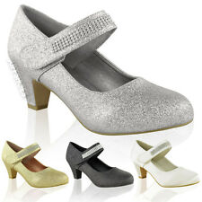 WOMENS LADIES WEDDING DIAMANTE PROM LOW MID HIGH HEEL BRIDAL COURT SHOES SIZE