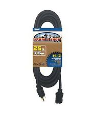 25-100Ft 14 Gauge Indoor Outdoor Heavy Duty Power Extension Cord Black Farm/Shop
