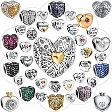 925 Sterling Silver Charms Fashion Design Nice Heart Shape Bead Fit Bracelet Diy