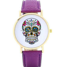 Women Fashion Colorful Skull Case Leather Band Big Face Lover Wristwatch Jewelry