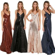 Sexy Spaghetti Strap Open Back Luxury Sequins Prom Cocktail Maxi Long Gown Dress