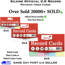 Revision/Flash/Index Silvine Record Cards White/Plain/Ruled/Coloured Free P+P