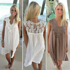 BOHO Ladies Sleeveless Party Long Tops Womens Loose Summer Beach Lace Mini Dress