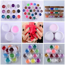 12/24 Solid Pure Glitter Mix Color Gel Acrylic Set UV Builder Nail Art Decor Kit