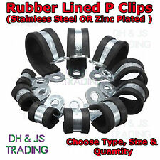 Rubber Lined P Clips Wiring Hose Marine Pipe Cable Stainless Steel & Zinc Plated