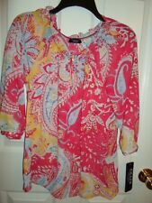 CHAPS RALPH LAUREN PINK YELLOW BLUE PAISLEY FLORAL TUNIC CHIFFON TOP BLOUSE XS S