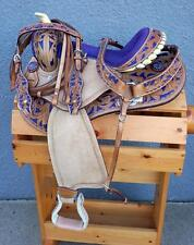 "10"" 13"" Med Oil Filigree PURPLE Western PONY MINI TRAIL Saddle SHOW 4p PKG"
