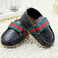 Baby Boy Gentleman Black Faux Leather Crib Shoes Soft Soles Size 0-18 Months