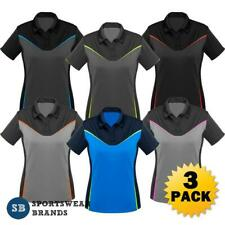 3 x Ladies Victory Polo Shirt Womens Sports Work Top Fluoro Size 8-24 New P606LS