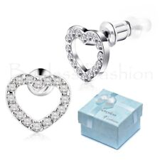 Surgical Stainless Steel Allergy Free Sparkling Girls Heart Stud Earrings