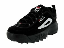 FILA DISRUPTOR II BLACK WHITE RED NUBUCK MEN SHOES FW01653-018 AUTHENTIC