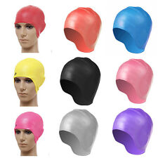 Unisex Adult Silicone Stretch Swimming Cap Long Hair Hat With Ear Cup Waterproof