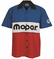 Classic 1972 Mopar Logo Pit Racing Shirt Embroidered Emblem Red White Blue
