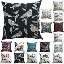 Luxury Cushion Covers 18 x 18 Inch 45 x 45 Cm Butterfly Bird Embroided New