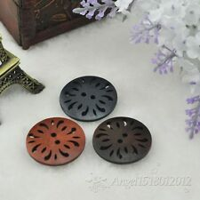 40pcs Mix 3 Colors Pierced Flower Wood Buttons 30mm Sewing Craft