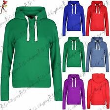 Womens Hooded Sweatshirt Long Sleeve Hoody Top Ladies Draw Strings Cuffed Top