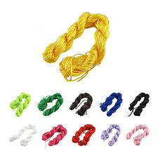 1 roll 25m Nylon Cord Thread Chinese Knot Macrame Rattail Bracelet String AD