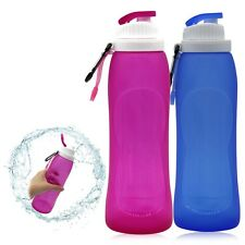 500ML Silicone Foldable Sport Water Bottle Camping Hiking Canteen Bottle Kettle