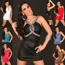 Sexy women clubbing Tank Mini Dress Ladies Rhinestones Party Top size 6 8 10 12