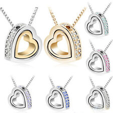 Womens Jewelry Heart Crystal Charm Pendant Chain Necklace Silver Plated Fashion