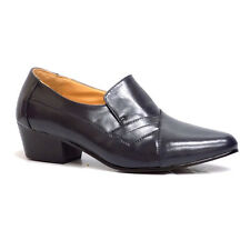 D'Italo 5629 Mens Navy Blue Leather Slip On Cuban Heel Loafer Dress Shoes