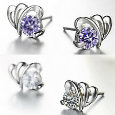 Fashion Women Ladies 925 Sterling Silver Crystal Love Butterfly Ear Stud Earring
