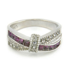 Size 6-10 Purple Amethyst & CZ Criss Cross Ring Band silver plated Jewelry