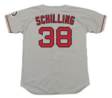 CURT SCHILLING Boston Red Sox 2004 Majestic Throwback Away Baseball Jersey
