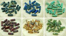 20pcs Picasso Czech Glass Tube Beads 5mm x 15mm