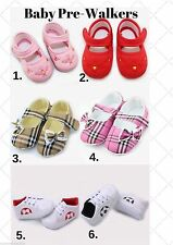 Cute Baby Girl Boy Pre-Walkers, Soft Sole Shoe, 6 Style Choices