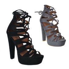 WOMENS LADIES GLADIATOR STRAPPY LACE UP HIGH HEEL SANDAL WITH ZIP AT THE BACK