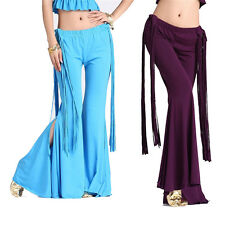 Sexy Belly Dance Latin Yoga Sripe Tassels Pants Dancing Tribal Crystal Cotton