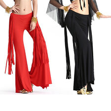 Hot Belly Dance Latin Yoga Sripe Tassels Pants Dancing Tribal Crystal Cotton