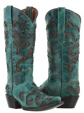 Womens Turquoise Leather Overlay Brown Western Cowboy Cowgirl Boots Rodeo Snip