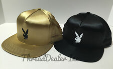 Supreme x Playboy Bunny Satin 5 Panel  Snapback Hat Cap 2016 Black OR Gold New