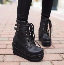 Womens Punk High Platform Wedge Heels Lace zip Up Goth Ankle Boots Shoes sport