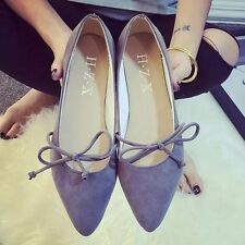 Women Casual Laces Pointed Shoes Summer Faux Suede Slip-on Ballet Flats Loafers