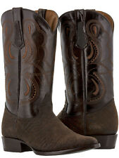 mens brown bull bison buffalo neck leather western cowboy boots exotic rodeo new