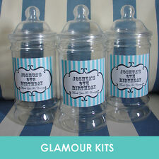 EMPTY PERSONALISED RETRO SWEETS VICTORIAN JAR PARTY WEDDING BIRTHDAY GIFT FAVOUR