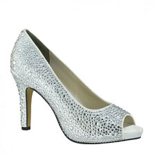 Eliza White Silver Champagne Bridal Prom Pageant High Heel Pump Rhinestone Shoes